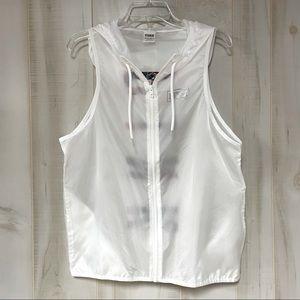 VS Pink White Full Zip Sleeveless Anorak Vest M/L